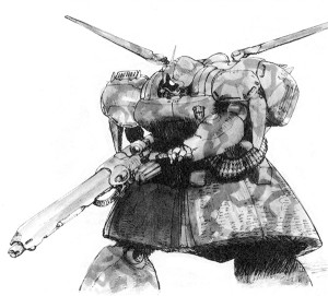 An MS-09 Dom G with zimmerit armor skirts, drawn by Kazuhisa Kondo.