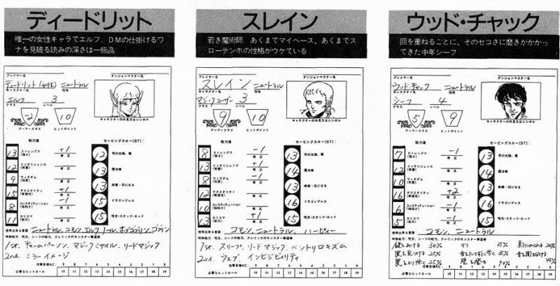 Lodoss War Character Sheets